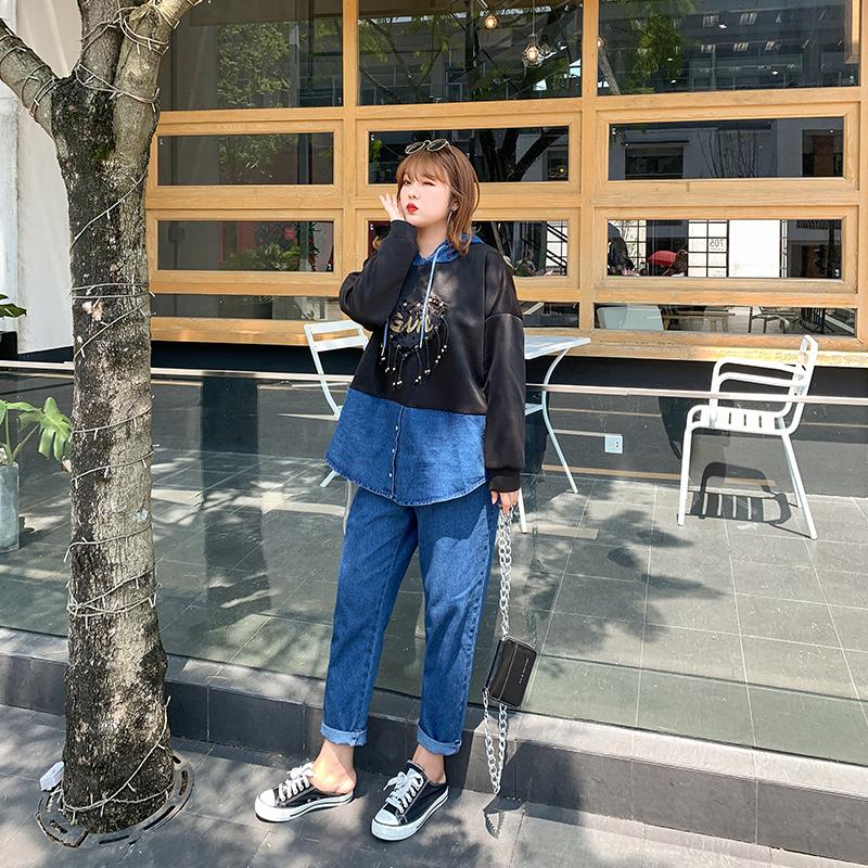 大姗姗家胖妹妹2019牛仔拼接两件套韩版大码女装减龄显瘦帽衫套装(用20.4元券)