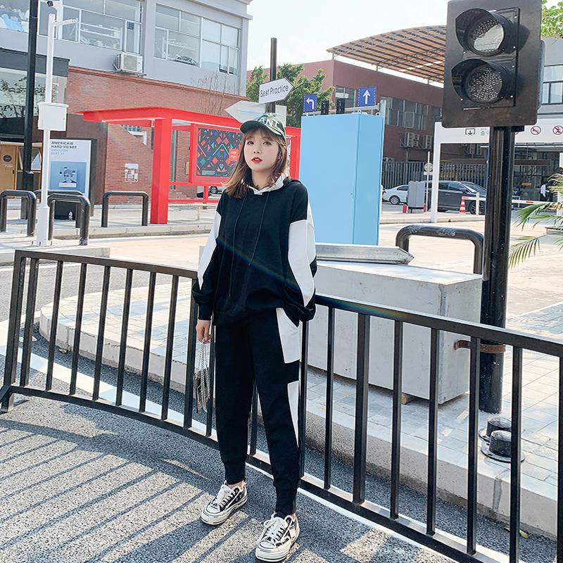 11月04日最新优惠大姗姗家大码女装秋季连帽跑步两件套微胖妹妹休闲运动套装网红款