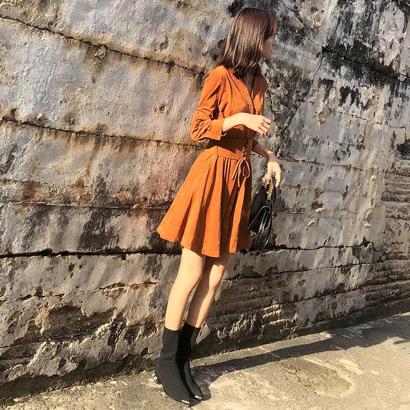 高冷范2018新款秋装女装成熟温柔风气质法式茶歇裙子初秋季连衣裙