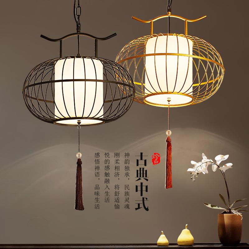 新中式灯笼餐厅吊灯茶楼铁艺鸟笼复古工业风现代创意北欧吧台灯具