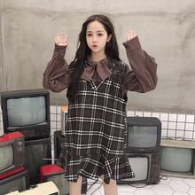 怪兽的衣柜2018新款韩版长袖系带蝴蝶结衬衫格子背心连衣裙套装