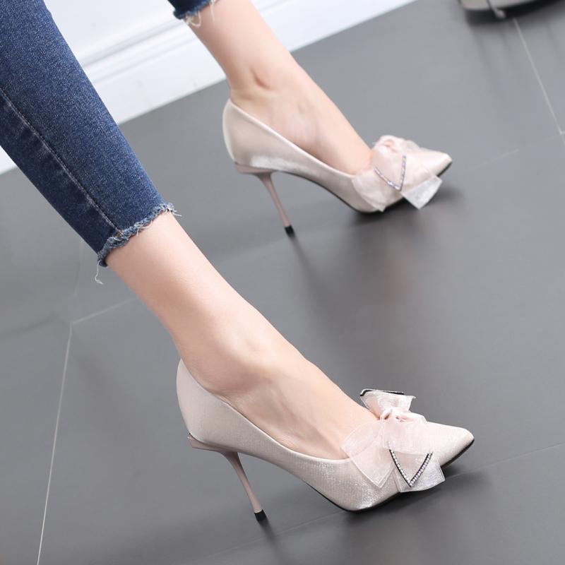 法式少女网红高跟鞋女细跟2020春秋新款蝴蝶结百搭浅口尖头单鞋女