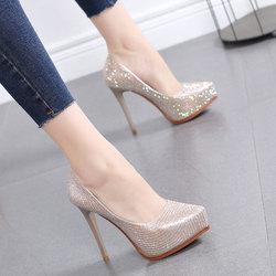 鞋子女2020新款水钻气质女鞋婚鞋尖头高跟鞋女细跟防水台浅口单鞋