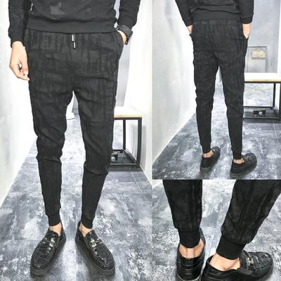 B328/G0764 精品提花面料小年轻休闲裤男小脚跨裤P80 低于99投诉