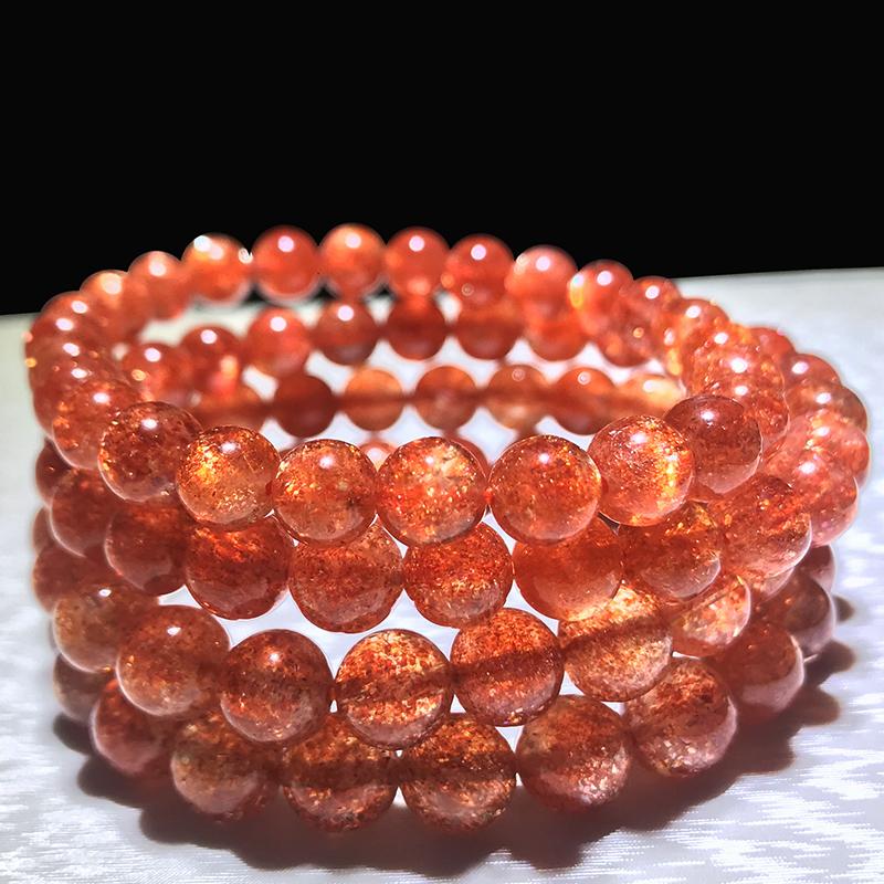 收藏级天然金太阳石手链金草莓晶手串橙日光石猫眼冰种月光石散珠