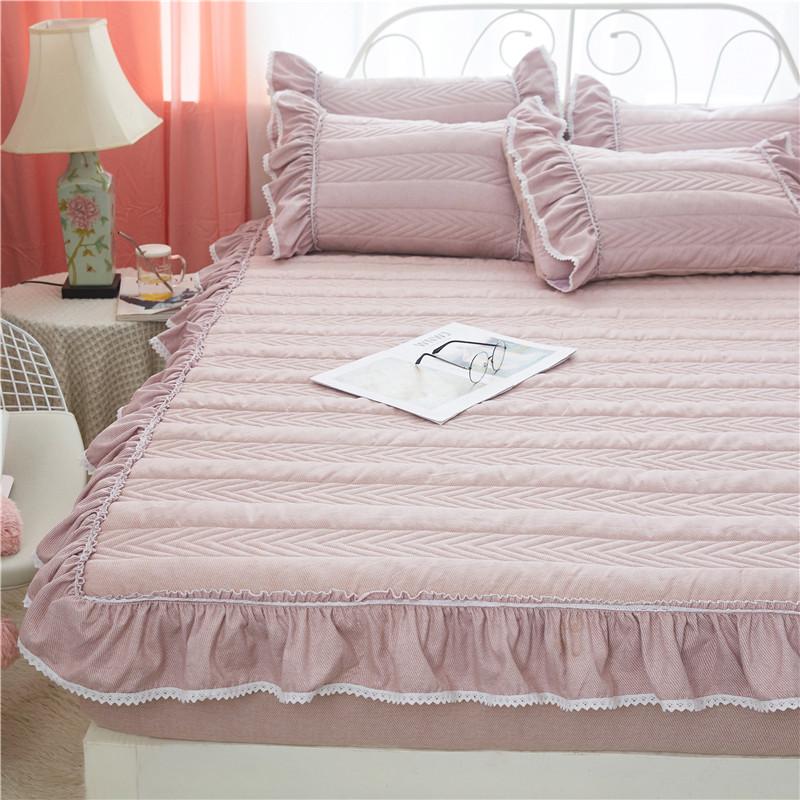 床笠加厚夾棉床罩床墊保護套加棉花邊床裙防滑床單公主風榻榻米