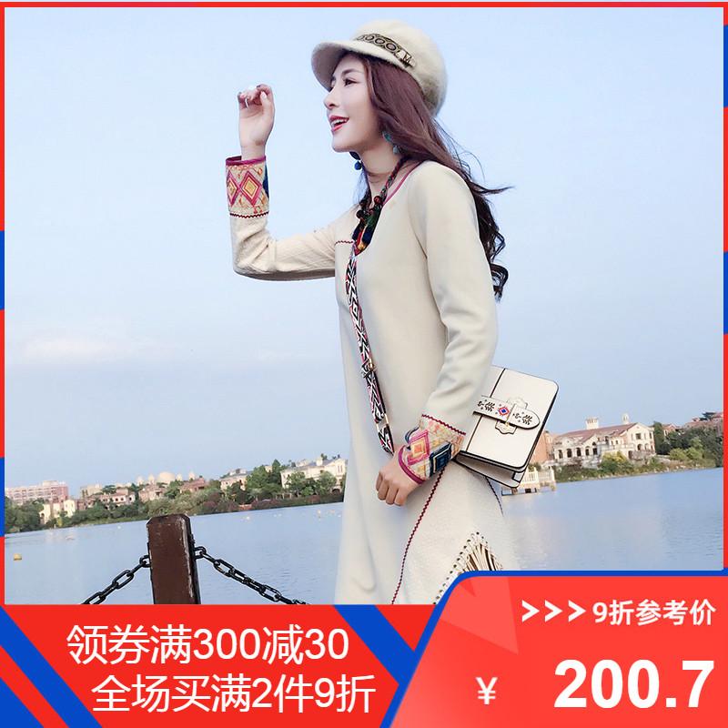 11-07新券两人故事民族风绣花旅游女连衣裙