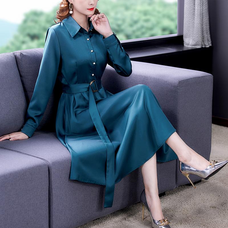 實拍高端醋酸緞面真絲長袖連衣裙女春秋季新款收腰顯瘦氣質裙子