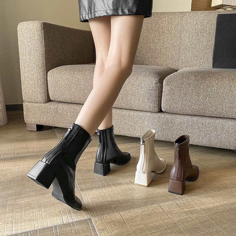 秋冬新款方头粗跟短靴后拉链中跟百搭英伦风马丁靴女显瘦高跟单靴