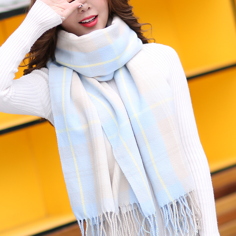 Autumn and winter ins artistic plaid scarf for women and Japanese college girls shawl dual-purpose long imitation cashmere bib for women