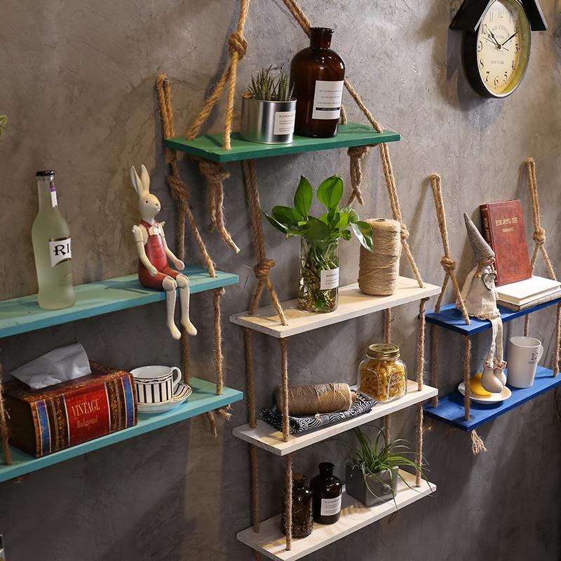工业风创意DIY奶茶店房间墙面墙上麻绳置物架墙壁装饰品壁挂挂件