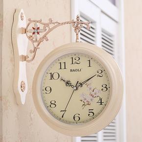 双面挂钟欧式创意表客厅静音田园时钟表两面个性时尚现代简约挂表