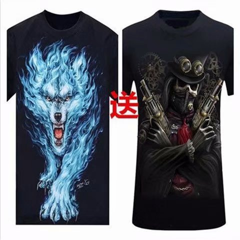 3D animal pack wolf wolf head personalized print short sleeve T-shirt fashion mens large half sleeve T-shirt