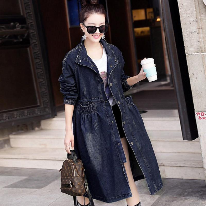 牛仔外套女中长款2020春装新款修身显瘦韩版收腰立领风衣潮