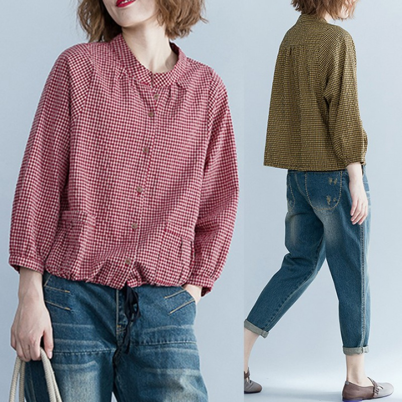 Cotton hemp Plaid Shirt womens spring and summer new retro large loose and versatile breasted cardigan casual short top