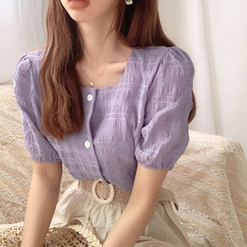 Korean chic summer retro white romantic purple dark Plaid Plaid square collar single breasted Short Sleeve Shirt Top Women