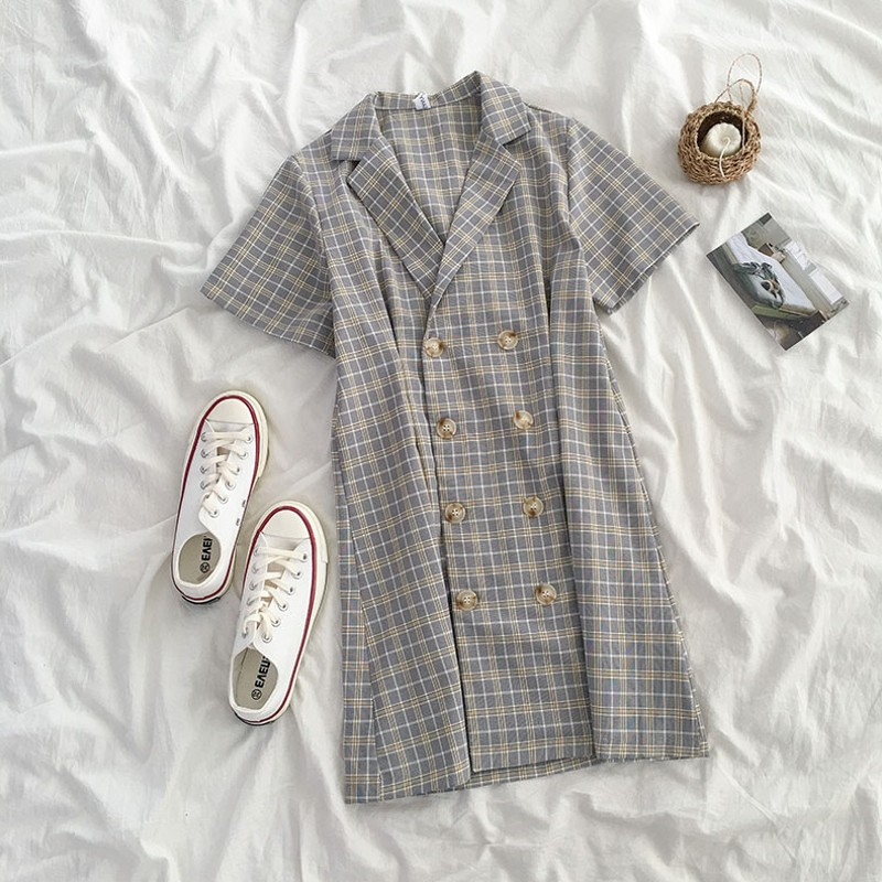 Small temperament Plaid Dress summer 2019 new womens Korean version waist closing design suit collar short skirt