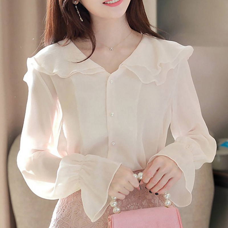 Spring 2020 small shirt lotus leaf chiffon shirt very fairy top fairy long sleeve sweet super fairy shirt shirt