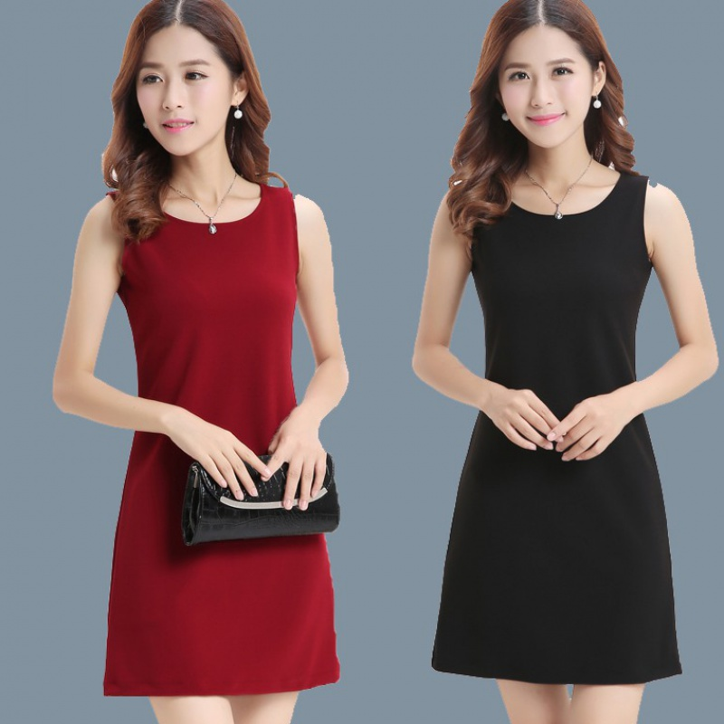 Spring and autumn 2020 new Korean version of Sleeveless Dress Black Loose and thin with bottomed vest skirt for womens spring