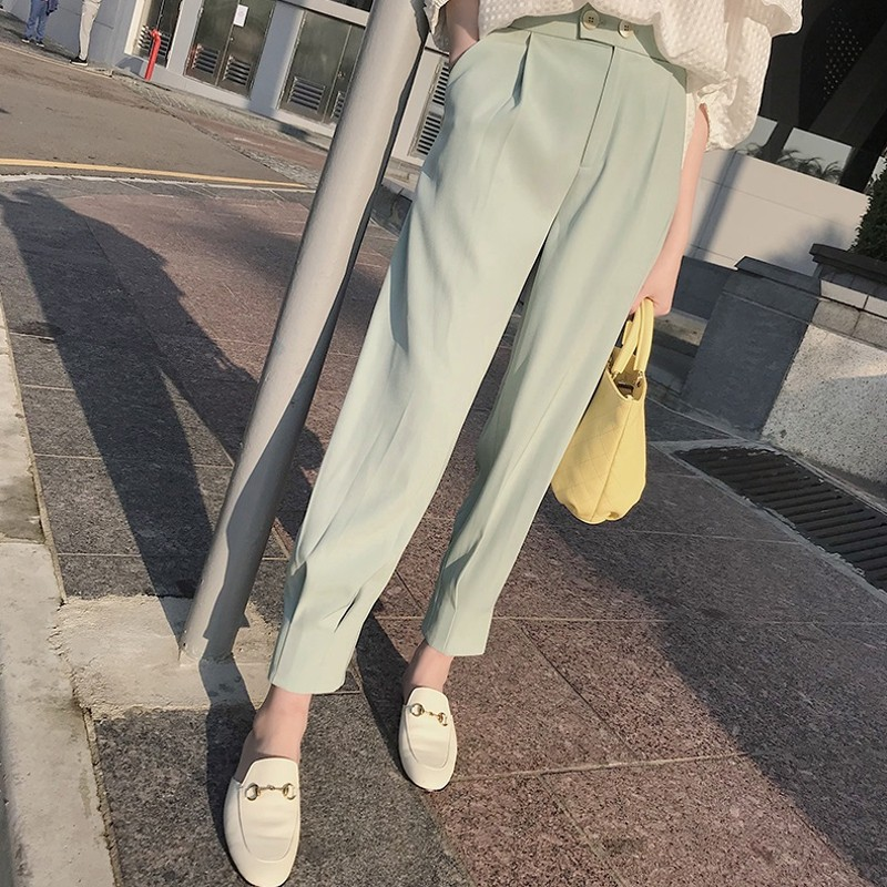 Shallow water green Harem Pants summer thin elastic Capris casual loose pants nine point radish womens pants