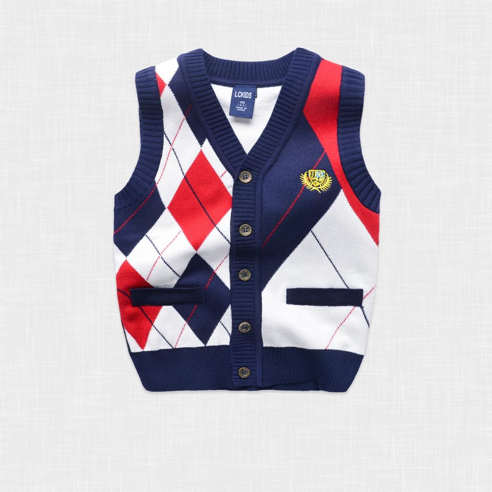 【天天特价】宝宝春秋 男童背心马甲儿童毛衣童装学院风婴儿针织图片