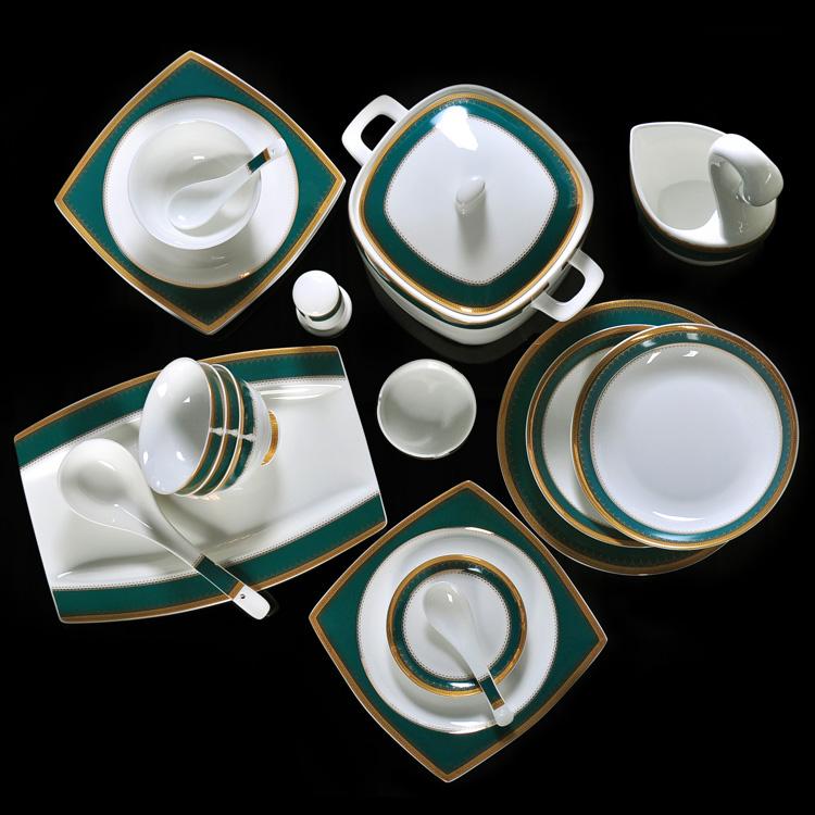 綠寶石餐具套裝碗碟套裝家用碗盤組合搭配DIY歐式金邊景德鎮包郵