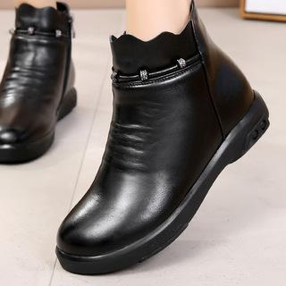 冬季新款秋冬真皮短靴牛皮黑色平底女鞋女靴大码短筒平跟圆头靴子