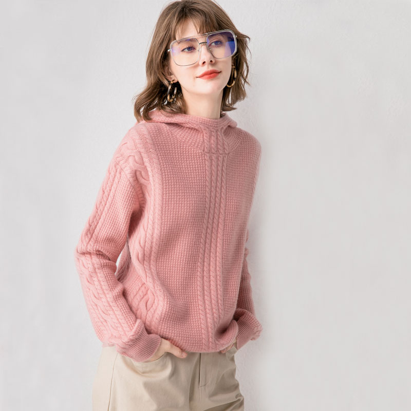 Autumn and winter 2019 new cashmere sweater womens half high collar hooded knitted cardigan twist thickened Pullover bottoming sweater