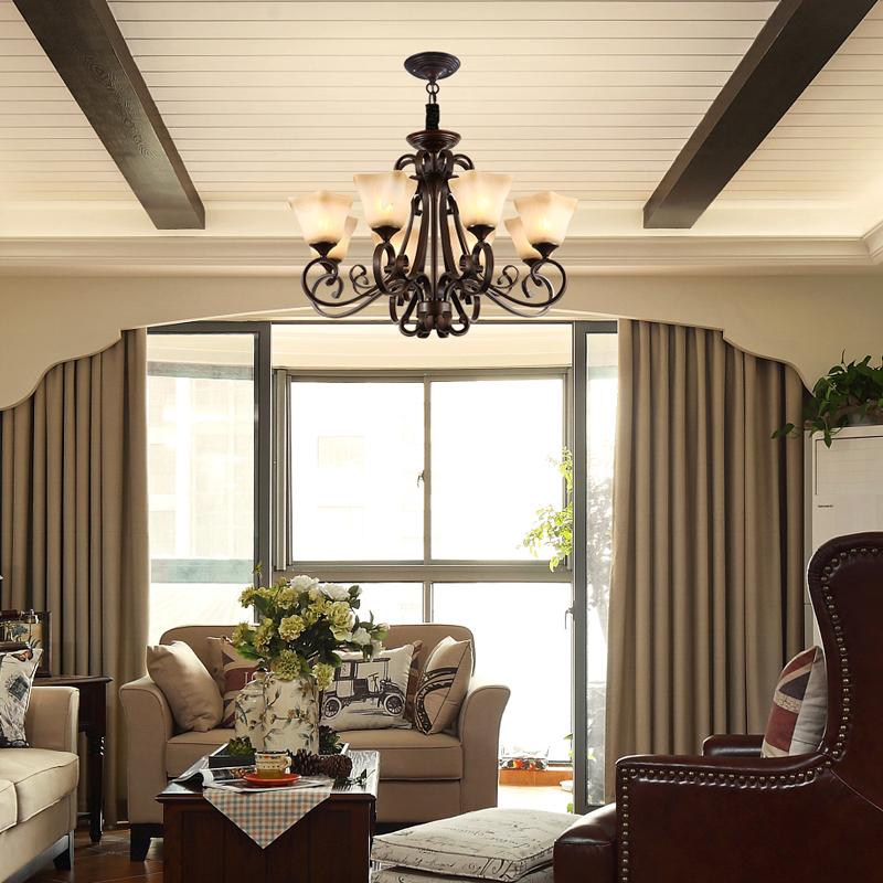 美式乡村客厅灯复古铁艺创意卧室灯