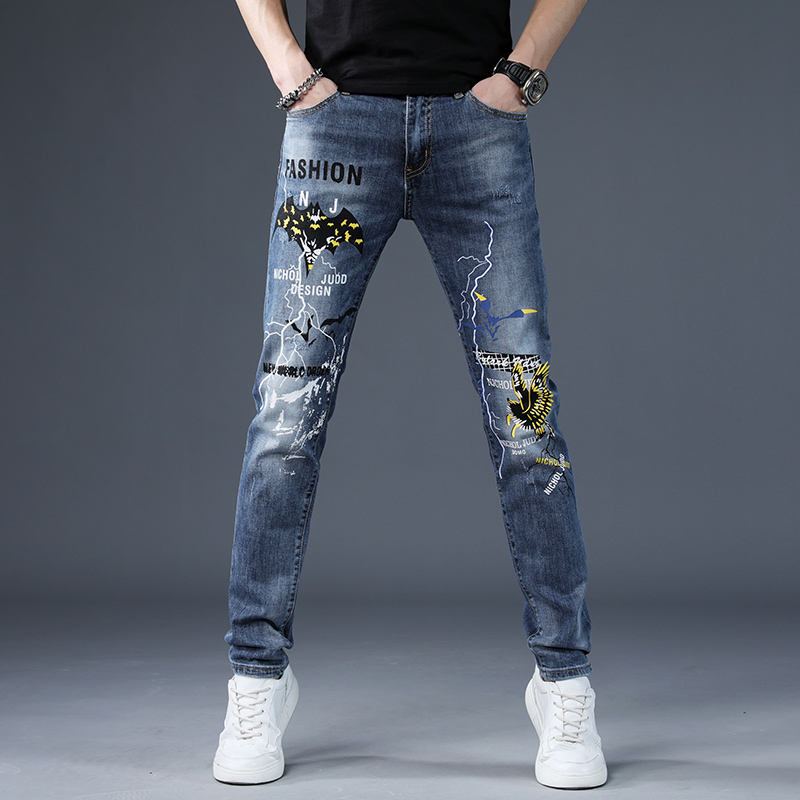 Europe station high end Vintage spring and autumn jeans mens fashion brand casual stretch embroidery print slim pants