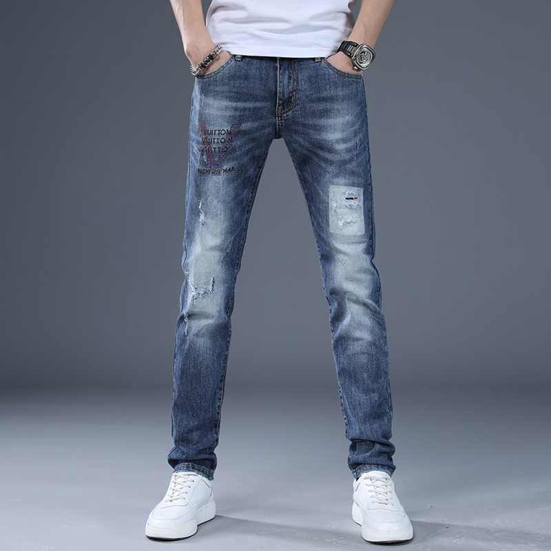 Europe station spring and summer wear out jeans high end mens Korean Trend printing stretch trendy slim Leggings
