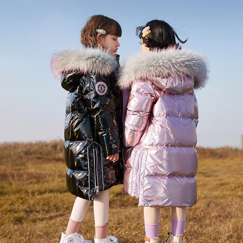 3QR品牌童装2020新款女童亮面防水加厚白鸭绒羽绒服女孩冬装外套