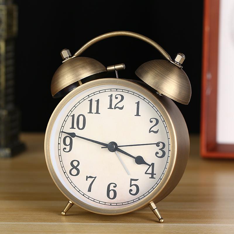 欧式复古闹钟表静音创意中小学生用懒人床头机械超大声音打铃时钟