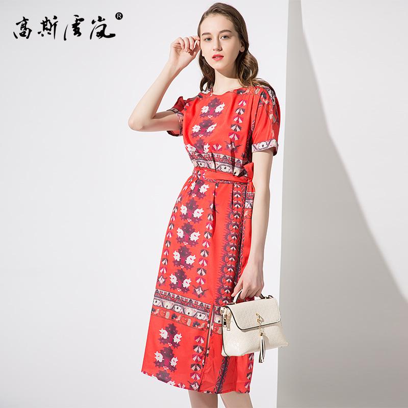 高斯雪岚女装  2018新款夏上衣春装 印花长裙雪纺过膝裙子