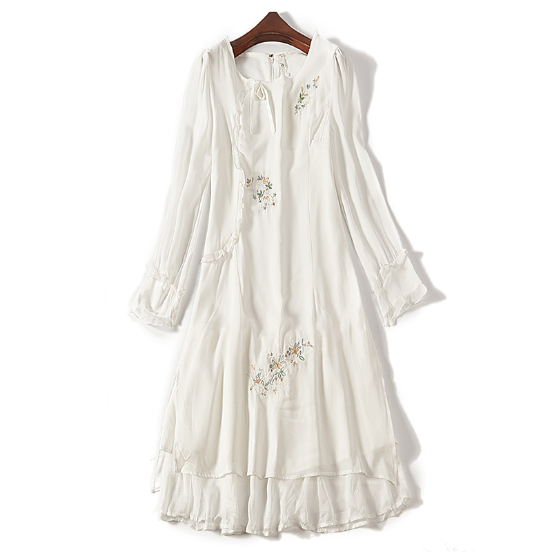 2020 spring dress new artistic embroidery slim Long Sleeve Chiffon dress womens 6705 Baoyou womens one-piece skirt