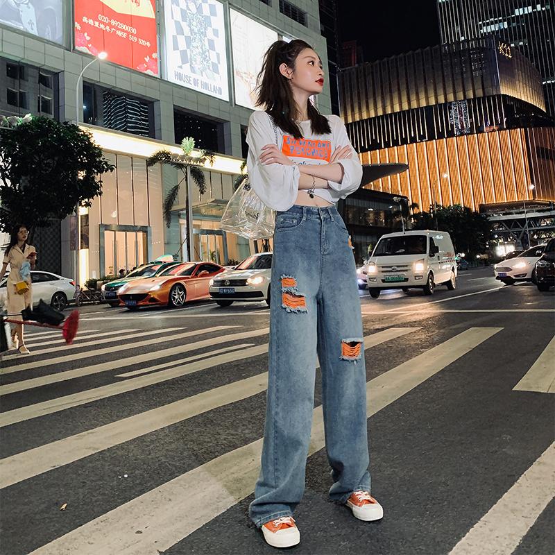 高腰撞色阔腿裤2019秋季潮直筒裤子满8元可用3元优惠券