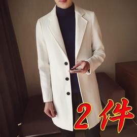 2020秋冬季新款呢子风衣男士披风韩版帅气外套修身中长款毛呢大衣