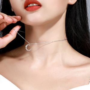 s925纯银项链女轻奢小众锁骨潮满钻圆圈吊坠网红气质饰品送女友