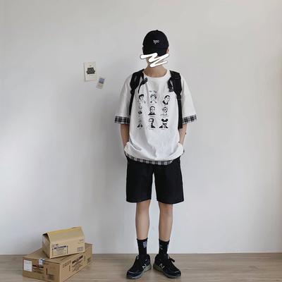 大景韩版宽松男士短袖T恤衫 假两件复古风印图半袖 G702-P45控58