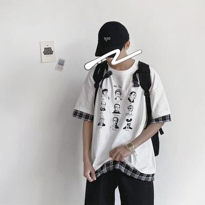 夏季韩版宽松男士短袖T恤衫 假两件复古风印图半袖 G702-P45控58