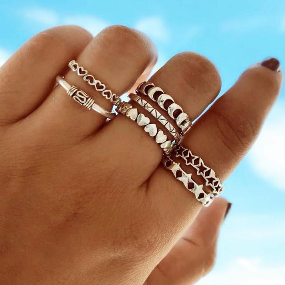 戒指套装女 银色百搭冷淡风指环女个性几何创意设计个性关节环