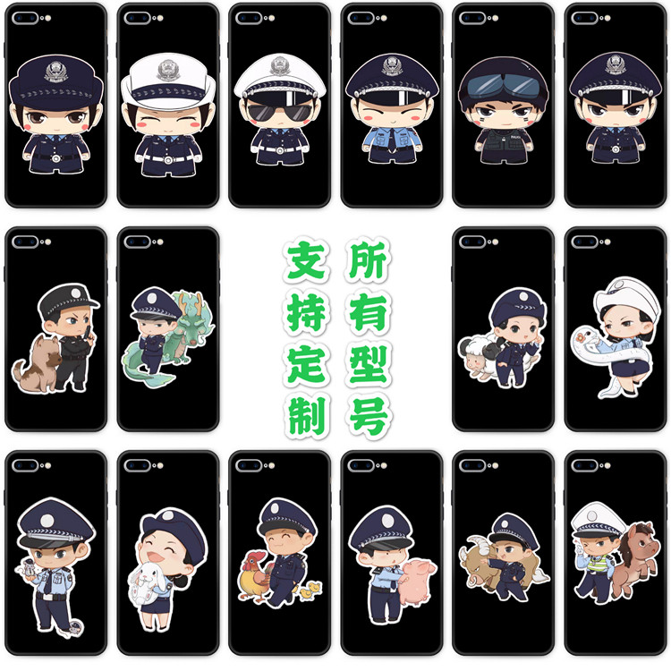 Suitable for oppoa11x mobile phone case a52 / A1 / A3 / A7 / A8 / a92s glue police traffic police cartoon