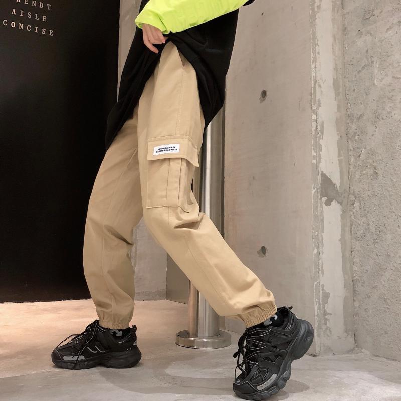 实拍图运动休闲国潮工装裤女宽松新款束脚显瘦直筒裤卡其