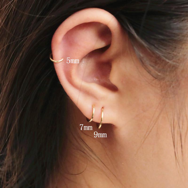 新品14K包金925銀極簡迷你小圓圈耳釘耳圈歐美簡約氣質耳環防過敏