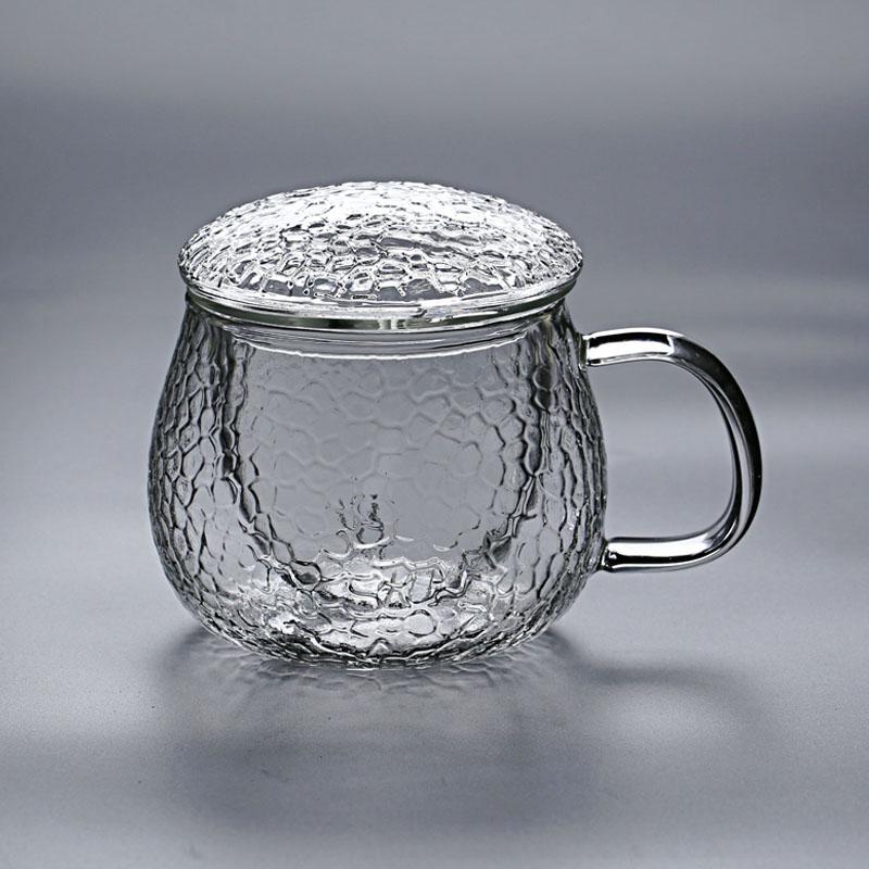 耐热玻璃过滤家用办公室喝茶泡茶水杯带把带盖茶水分离锤纹三件杯