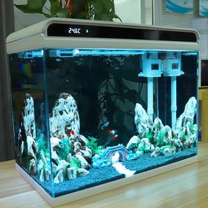 森森小型鱼缸客厅金鱼超白玻璃免换水生态懒人桌面家用造景水族箱