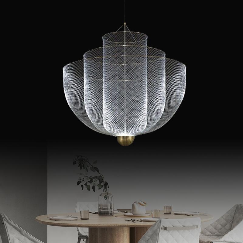 Italian designer light luxury restaurant living room decoration shop creative duplex building hollow large chandelier exhibition hall lamp