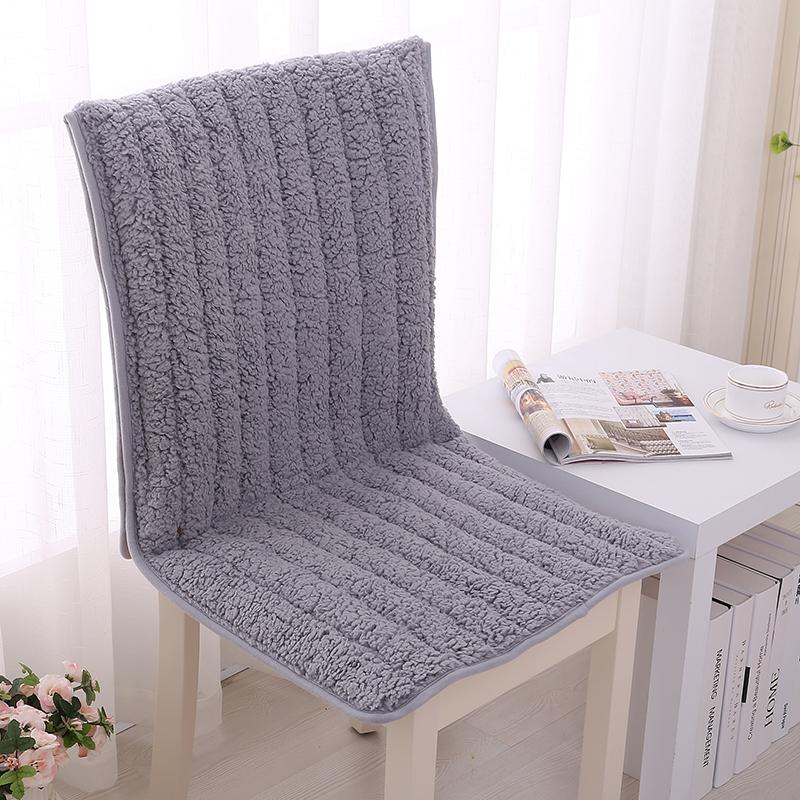 连体椅子坐垫靠垫一体 办公室四季餐桌椅垫 套装椅套毛绒防滑冬季