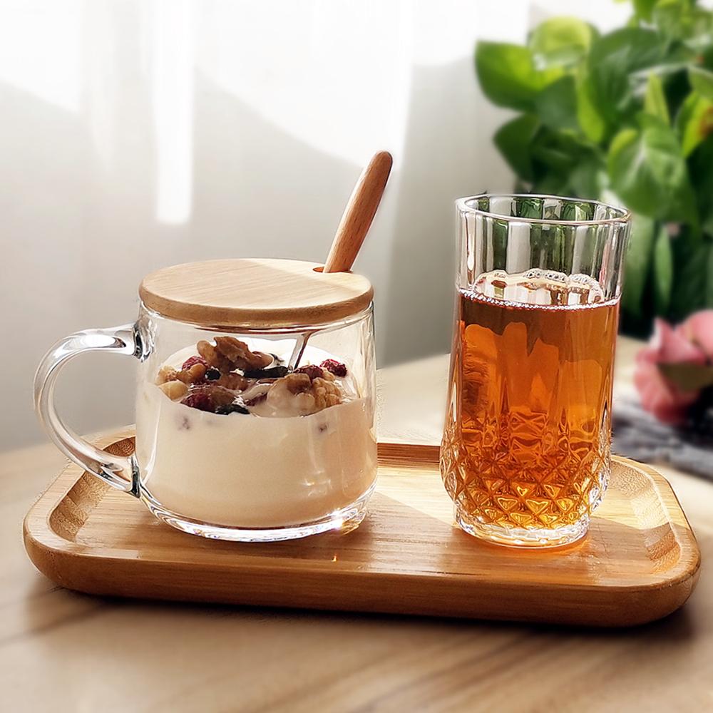 玻璃杯ins花茶杯早餐杯带盖勺牛奶杯家用咖啡啤酒杯托盘套装简约图片