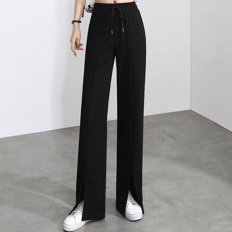 实拍2021春夏新款灰色阔腿裤女高腰宽松休闲女裤直筒小个子运动裤